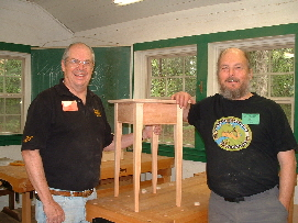 Jim building a table entirely by hand with instructor Bill Anderson